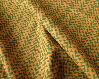 Mustard And Green Cotton Block Print Fabric