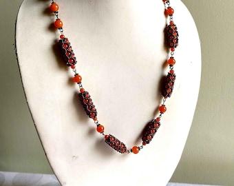orange bead necklace, beaded necklace set, long necklace set, seed bead necklace, orange jewelry set, simple necklace set, everyday necklace