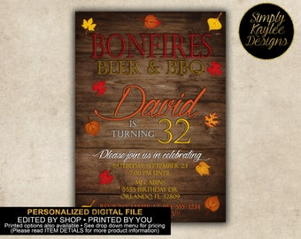 Fall Bonfires, Beers, and BBQ Birthday Party Invitation