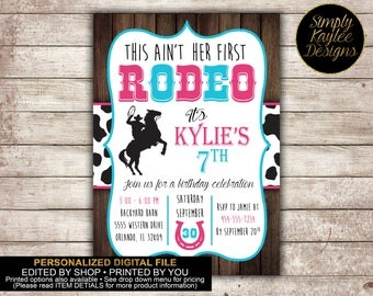 Cowgirl Rodeo Birthday Party Invitation