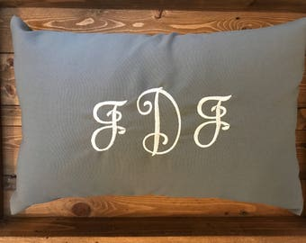 Embroidered - Monogrammed Pillow Cover/Sham - Customized - Personalized Gift Idea - Polyester Sham