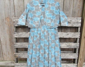 Abstract midcentury floral blue dress with bolero 50s size medium large