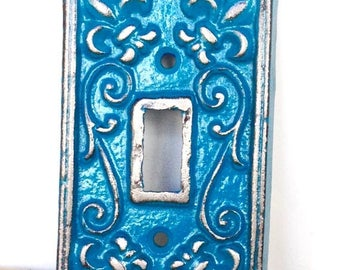 ON SALE Teal Light Switchplate - Wall Accents - Light Switch Cover - Teal Wall Decor - Light Switch Plate - Lightswitch Cover - Shabby Chic