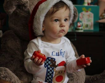 1st Christmas embroidered bodysuit made to order short or long sleeve with applique design