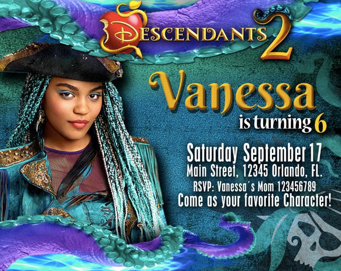 Birthday Invitation Disney Descendants 2 UMA