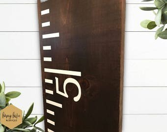 growth chart, wooden sign, kids room decor, wood height chart, ruler growth chart, kids height ruler, rustic wall hanging, vinyl wood sign