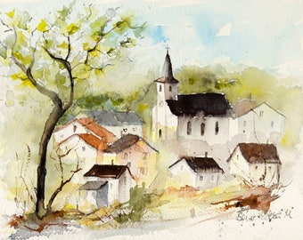 Original painting of French village in summer with houses and belltower, Original watercolor, French art, french landscape