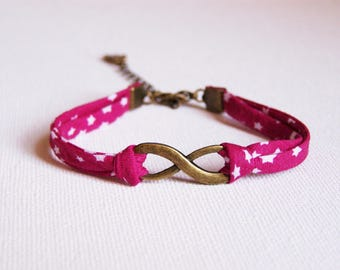 Infinity bracelet raspberry pink tone liberty