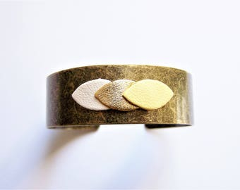 Cuff Bracelet and petal leather white, gold and yellow ochre