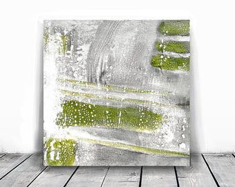 Original Fine Art Abstract, Contemporary Wall Art, Modern Art, green and white, 10x10, texture abstract wall art, original fine art, gray
