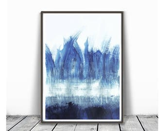 Abstract digital print, Dark blue painting, digital download print, abstract printable, blue black watercolor, minimalist art, printable art