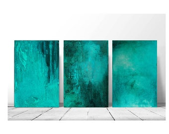 set of 3 abstracts, teal abstract, original painting, Wall Art, Modern Art Painting, Boho Painting, turquoise with silver leaf, 8x12