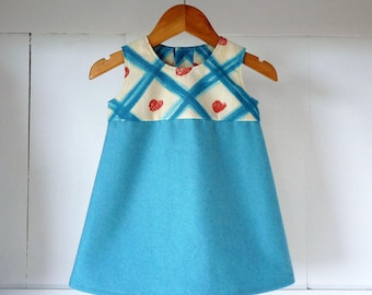 9 months pinafore dress blue and cotton flannel white with Blue diamond shapes and patterns brick red