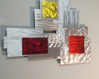 3D Abstract Metal Wall Sculpture, Modern Metal Wall Sculpture, Office Accent, Large Metal Art, Modern Metal Wall Art, Contemporary Decor