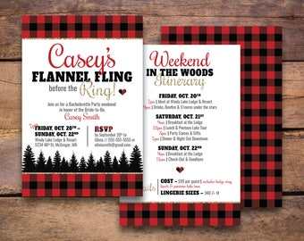 Flannel Fling before the Ring Bachelorette Party Invitation & Invite | Bachelorette Party Weekend in the Woods Flannel | *Digital Download*