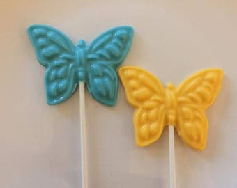 BUTTERFLY CHOCOLATE LOLLIPOP(12 qty)- Birthday Favors/Shower Favors/Girls Birthday Favors/Butterflies/Garden PartyBaby Shower