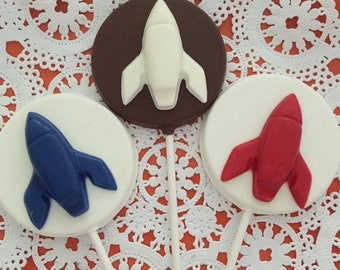 ROCKET SHIP Chocolate Lollipop (12 qty)-Space Party/Rockets/Birthday Party/Party Favors/Chocolate Rockets/Boys Birthday/Rocket Candy Favors