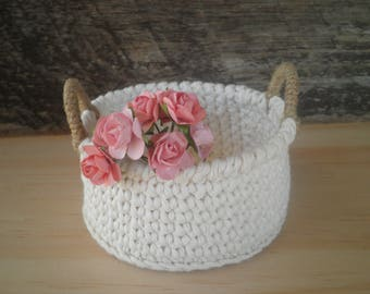 Small Round Crochet Basket with Handles, Shabby Chic Decor, Storage Basket, Gift for Women, Doll Basket, Cozy Home Decor