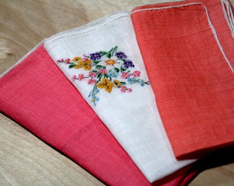 Lot of Three Burmel Irish Linen Handkerchiefs