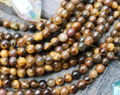 Yellow tiger eye, 6mm beads, round tiger eye, gemstone beads,