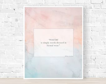 """HILLARY ASCALON QUOTE, Quotes about Poems, Original Quotes, Poet, Author, Writer Gift Idea, Watercolor Background 8""""x 10"""" Wall Art Print"""