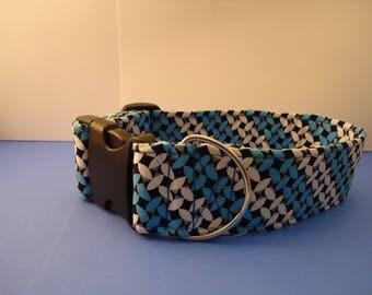 Dog Collar Blue Black Weave