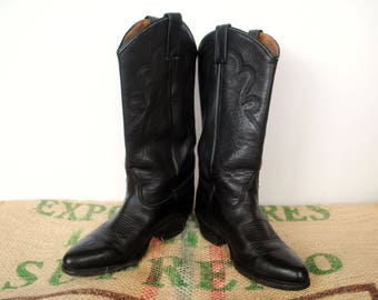Black Women's Cowboy Boots - Cuban Heel – 90s Made in USA - excellent condition - Size US US M 6.5 usL 8 Eu 39 Western Riding Boots