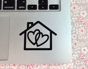 """Vinyl Laptop Decal, Two Hearts One Home, Laptop Sticker, 2.5"""" x 2"""", Fandom Decal, Car Decal, Phone Sticker"""