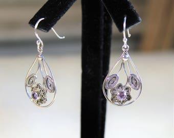 Sterling silver earrings, drop earrings, amethyst earrings, dangle earrings, flower earrings