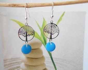Earrings tree of life print blue sequin
