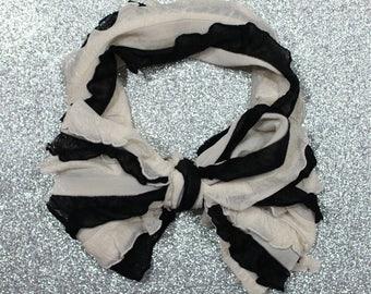 Black & Cream Ruffle Messy Bow Headband
