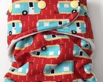 Camper - Camping - Trailer - Hybrid Fitted Cloth Diaper - one size OS - FDR - Zorb