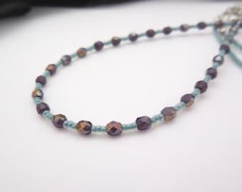 Beaded Badge Holder Lanyard, Necklace For Keys, Thin Adjustable Lanyard, Blue Lanyard, Purple