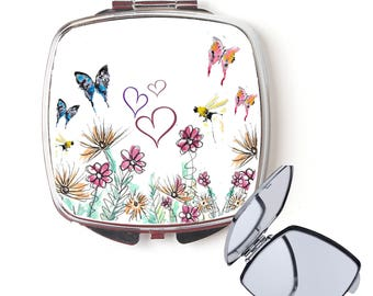 Butterfly compact mirror, handbag mirror, butterfly mirror, Christmas gift, for her, personalised mirror, secret santa, pocket mirror