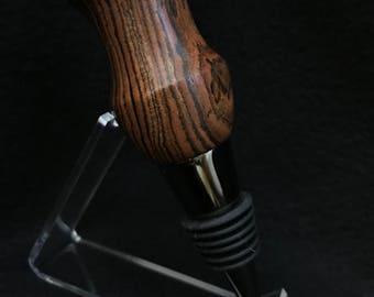 Titanium & black bottle stopper made with zebrawood