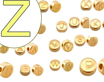 alphabet bead Z 7mm gold plated #3851