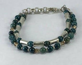 Handmade Genuine Blue Apatite Gemstone Swarovski Crystal 2 strand Bracelet Jewelry Apatite Bracelet Gemini June Bracelet jewelry