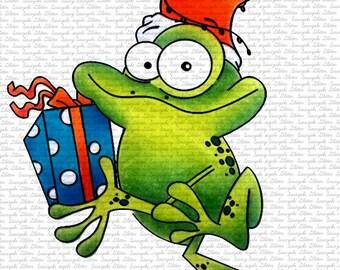 Image #108 - Christmas Frog, Digital Stamp by Naz Smith - Sasayaki Glitter, Line Art only. Black and White