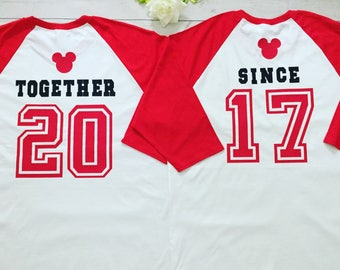 Disney Inspired  Couples Together since shirts, Made to order Disney shirts