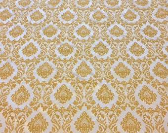 Vintage Gold Drape Remnant. Brocade Upholstery Fabric Vintage. Gold Drape Panel. Baroque Upholstery Fabric.
