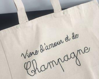 """** PROMO** Cabas """"Vivre d'Amour et de Champagne"""" - Broderie Cornely"""