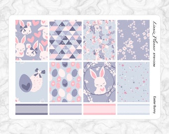 Easter Bunny Full Boxes   Stickers for your Erin Condren, Happy Planner, Kikki K, Filofax and more