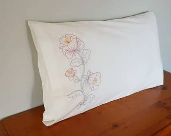 Embroidery Pillowcases, Bedroom linen, New Zealand, Flower pillow slips, Pillow Cover, Set of 2. White Pillow Slips. Made in New Zealand.