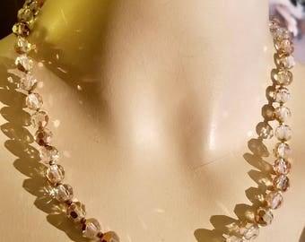 Aurora Borealis Glass Crystal Bead w/Gold Accents Necklace Vintage Retro