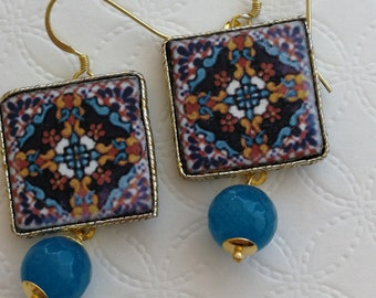 Silver earrings with Caltagirone ceramics and blue agate stones, Sicilian earrings