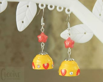Yellow bells with red origami star, Strawberry, Jhumkas, Origami star, Paper jewelry, Paper quilling, Handmade, Jewellery, Bells, Yellow