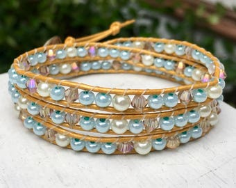 Blue Gold White Beaded Wrap Bracelet; Leather Wrap; Beaded Bracelet; Triple Wrap; Layer Bracelet; Stacking Bracelet; Chan Luu Style; Boho