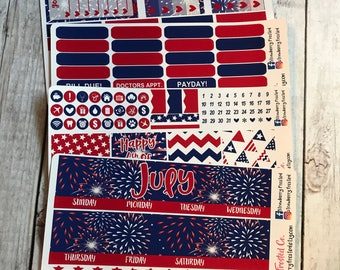 July (Fourth of July)---- Monthly Planner Kit ---- {Includes 160+ Stickers}