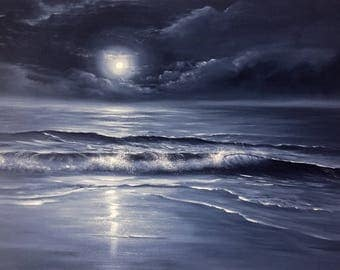 Full Moon Painting, Black and White Art, Indigo Starry Night, Monochromatic Art, Original sold: commissions open All Alone with the Memories