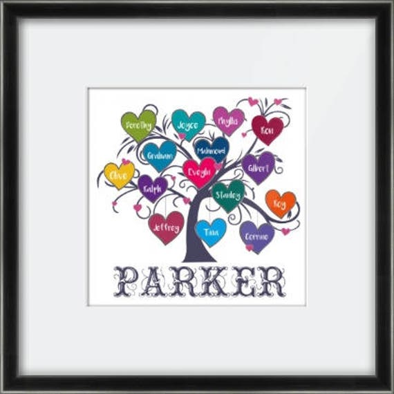 Personalised Family Tree Canvas or Framed Print.  Perfect wedding / anniversary / family Christmas gift / elderly relative gift